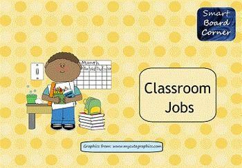 I created this SMART Notebook file to use for organizing your classroom jobs.  There are 20 jobs that you can assign students.  Just simply type your students names in a text box. You can easily drag and drop the student names onto different jobs each week.