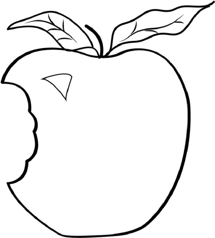 Bitten Apple Coloring Page