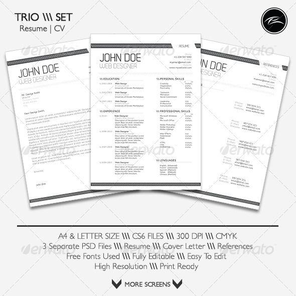 Font Size For Cover Letter: Trio Set 1.0 #GraphicRiver TRIO SET Resume