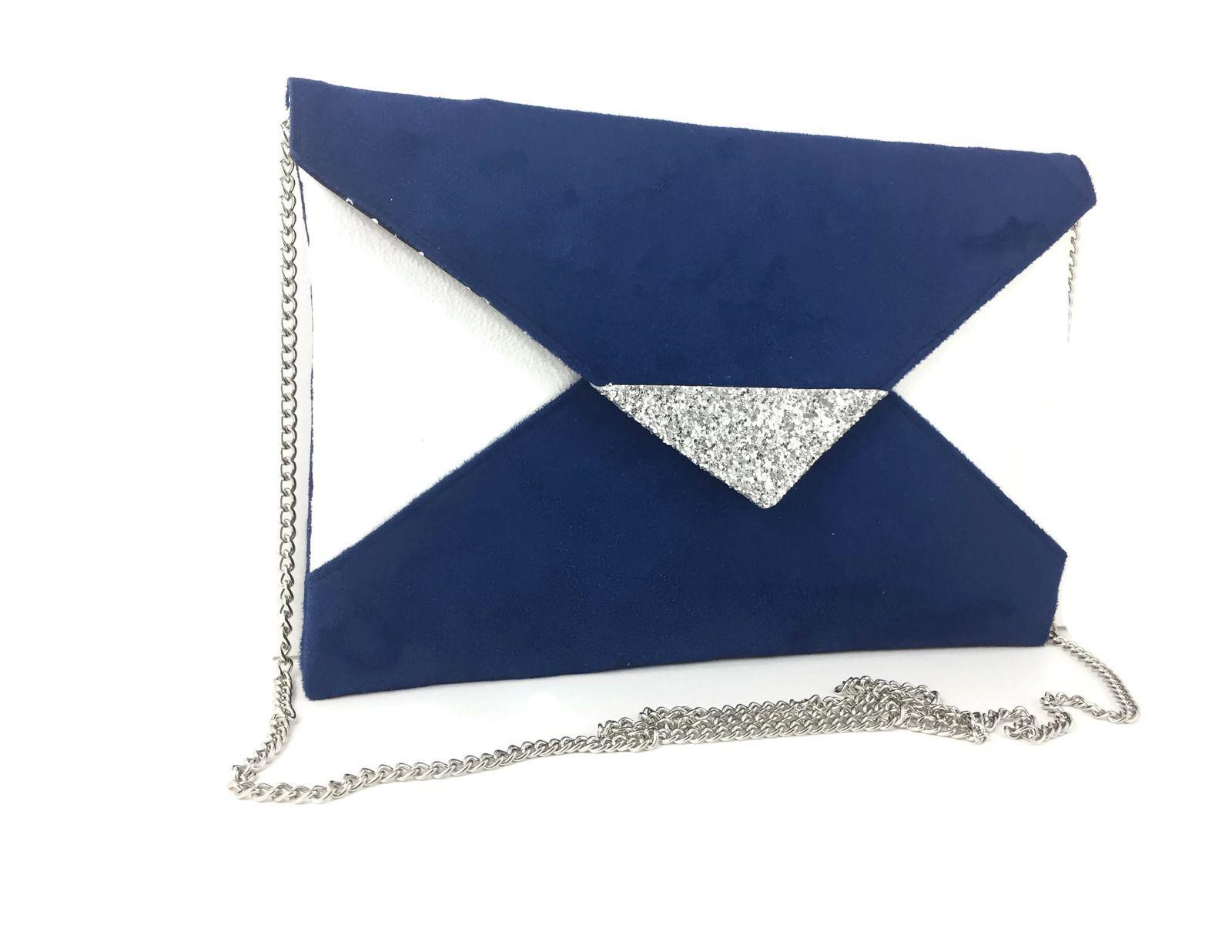 sac de soir e mariage bleu roi et blanc en su dine chaine. Black Bedroom Furniture Sets. Home Design Ideas