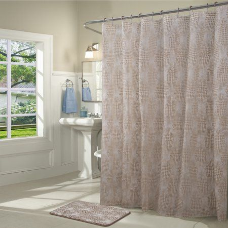 Dynasty 14 Piece Shower Curtain And Bath Mat Set In Taupe Size
