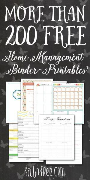 More Than 200 Free Home Management Binder Printables Organize