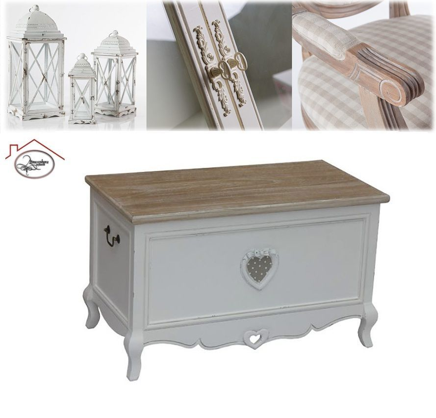 Cassapanca baule cuore in legno bianco shabby chic for Cassapanca shabby chic