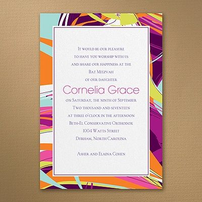 Contemporary Art - Invitation    | 40% OFF  |  http://mediaplus.carlsoncraft.com/Parties--Celebrations/Bar--Bat-Mitzvah-Invitations/3125-BAN14558I-Contemporary-Art--Invitation.pro