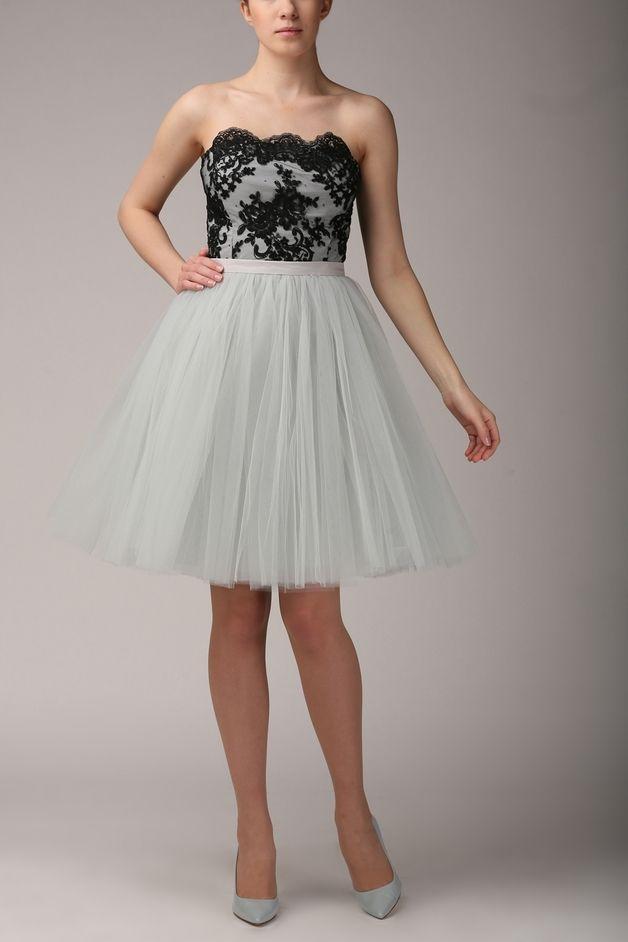 Lace corset T064  gray - black
