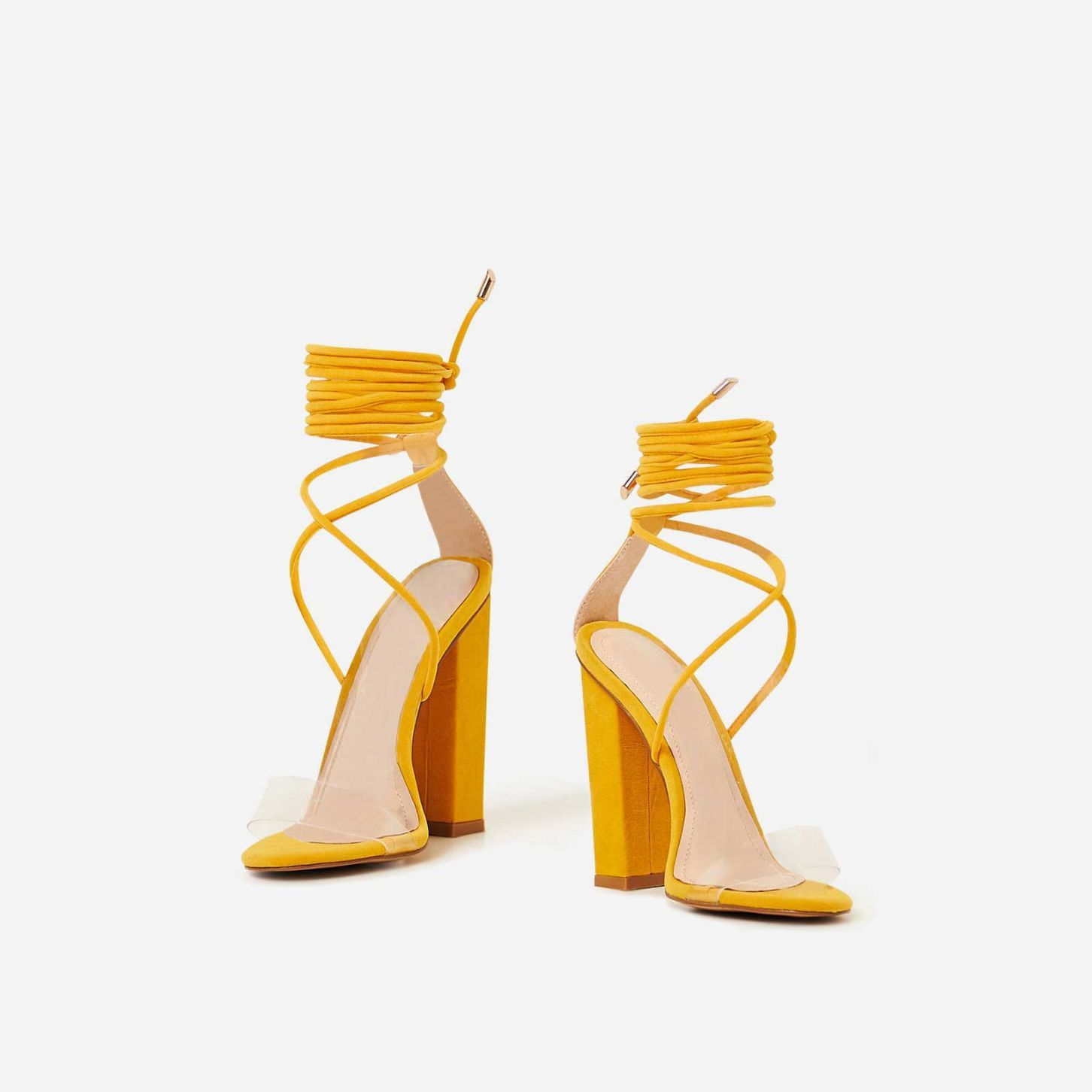 8468824795e Bello Perspex Lace Up Block Heel In Yellow Faux Suede | Foot Wear ...