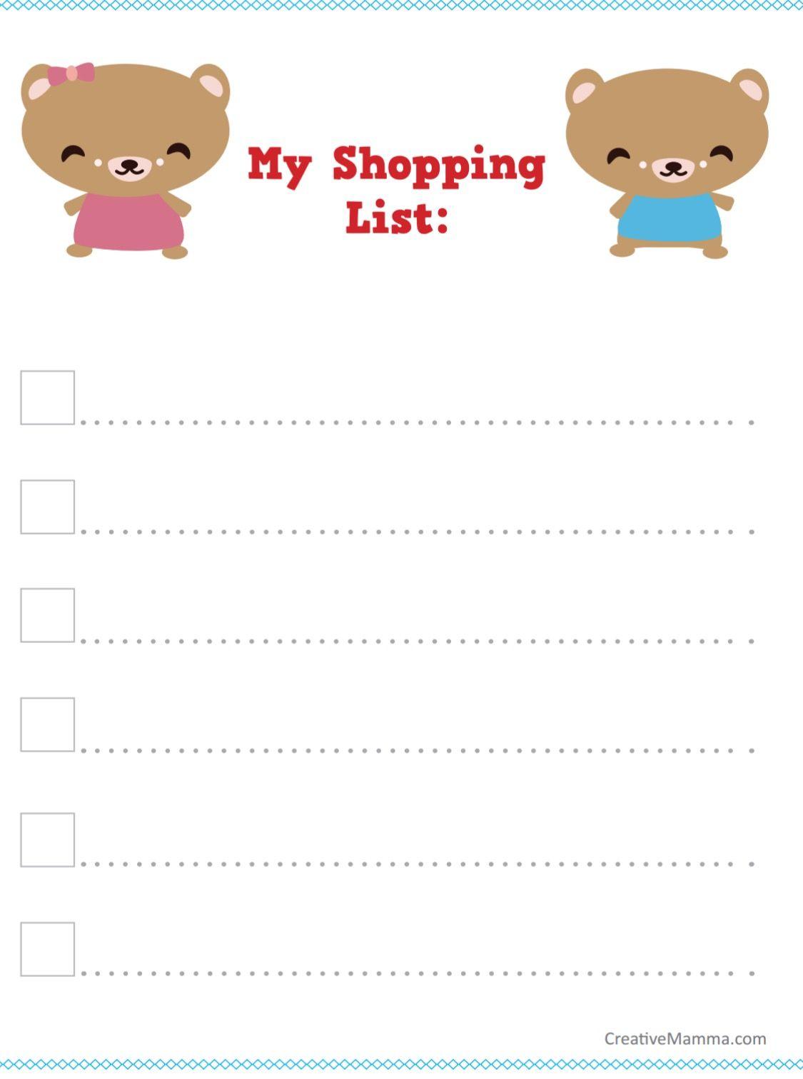 Chore Chart Shopping List