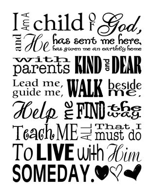 Subway Art I Am A Child Of God Color Sm Printable In Other Colors Too