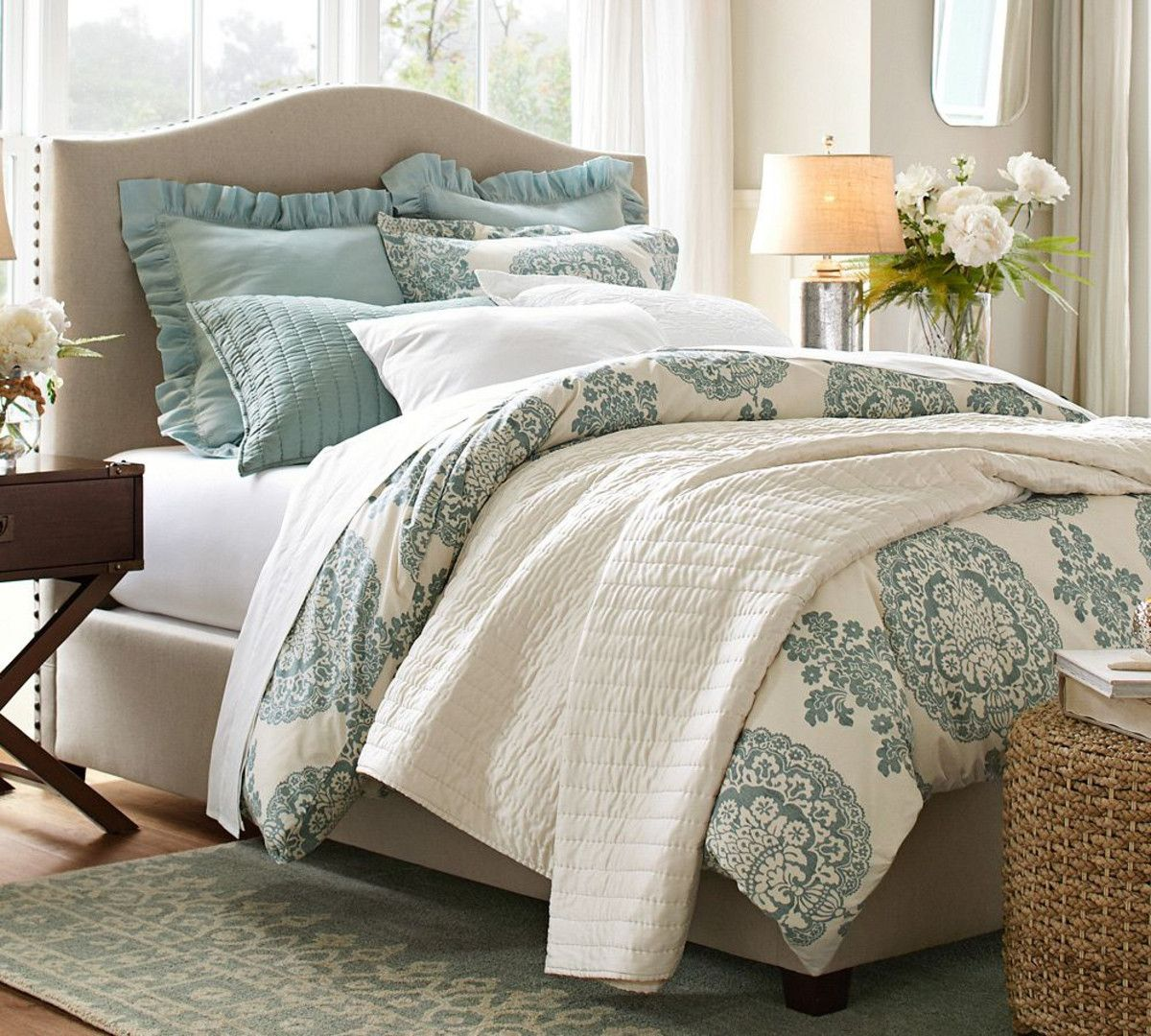 Raleigh upholstered camelback headboard with nailhead pottery barn