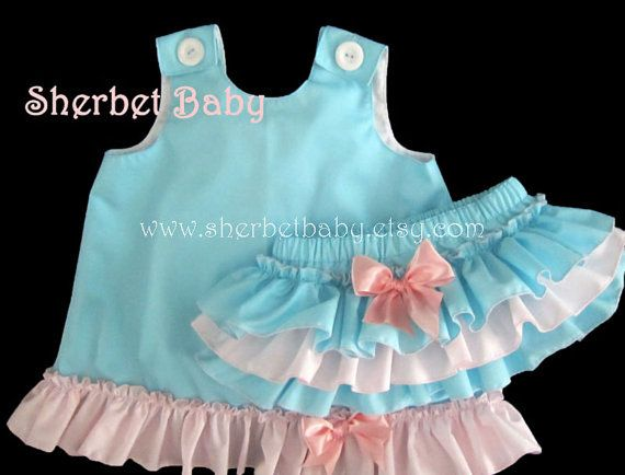 Aqua Blue & Pink Pinafore Set Sassy Pants Ruffle by SherbetBaby