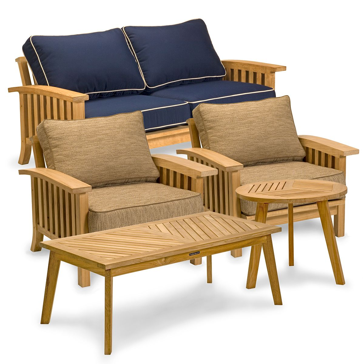 5 Piece Teak Outdoor Lounge Seating Set Craftsman