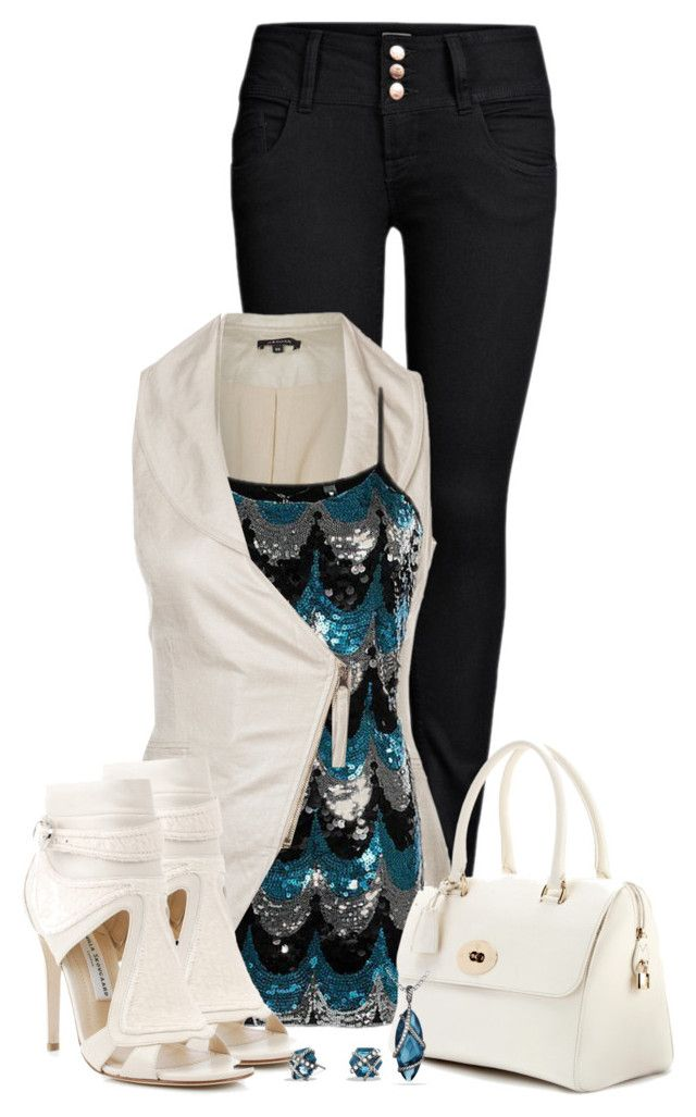 """White Waistcoat for Summer Evening Fun"" by callmeadie ❤ liked on Polyvore featuring moda, ONLY, Morgan, BKE Boutique, Camilla Skovgaard, Mulberry e David Yurman"
