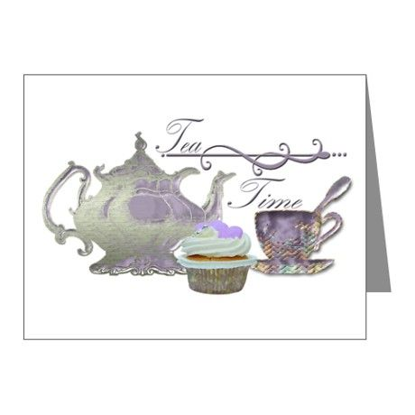 Tea Time Lilac Tea Set and Cupcake Note Cards