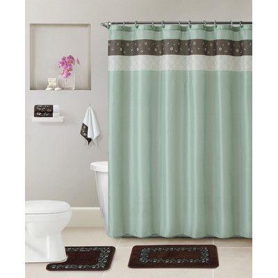 Red Barrel Studio Mccabe 5 Piece Shower Curtain Set Color Green