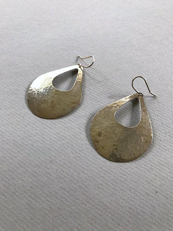 large teardop earrings large dangle earrings Hammered sterling silver earrings sterling silver earrings statement earrings