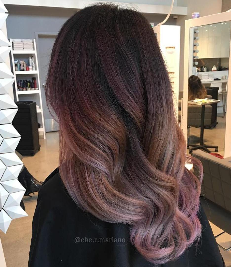 Brown And Pastel Pink Ombre Balayage Gaya Rambut Panjang Warna Rambut Gaya Rambut