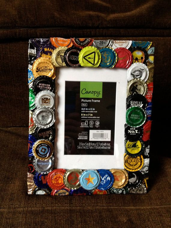 Made to order Beer bottle cap picture frame. Made from variety of ...