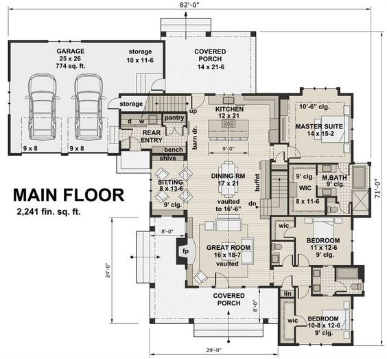 New Milford 2447 - 3 Bedrooms and 2 Baths The House Designers