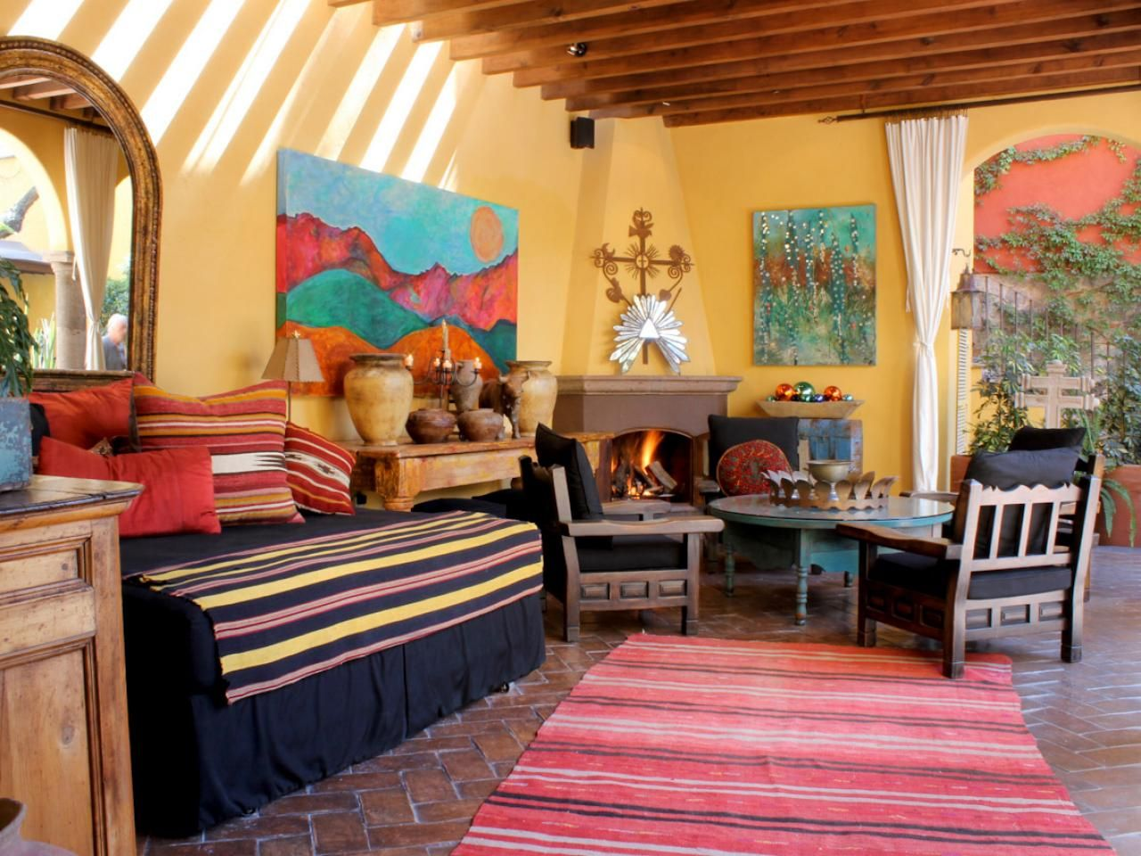 Colorful Outdoor Southwestern Living Room Inspiring Outdoor Spaces Southwestern Living Room Living Room Colors
