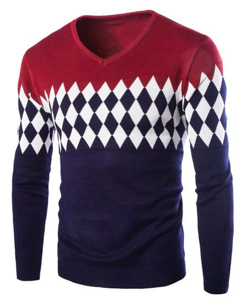 ef146f94a1df Classic Argyle Jacquard Color Splicing Slimming V-Neck Long Sleeves ...