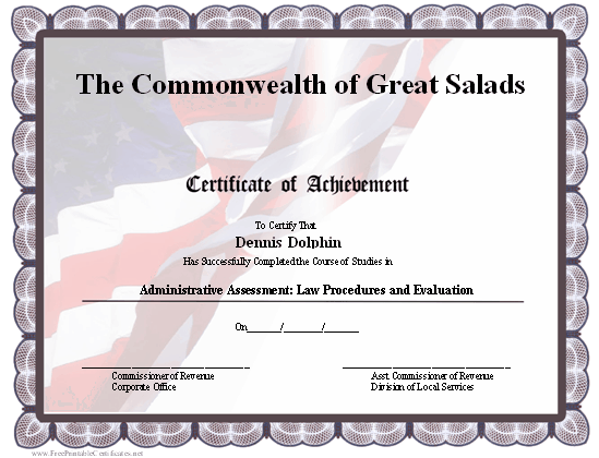 this certificate of achievement has a patriotic design with an