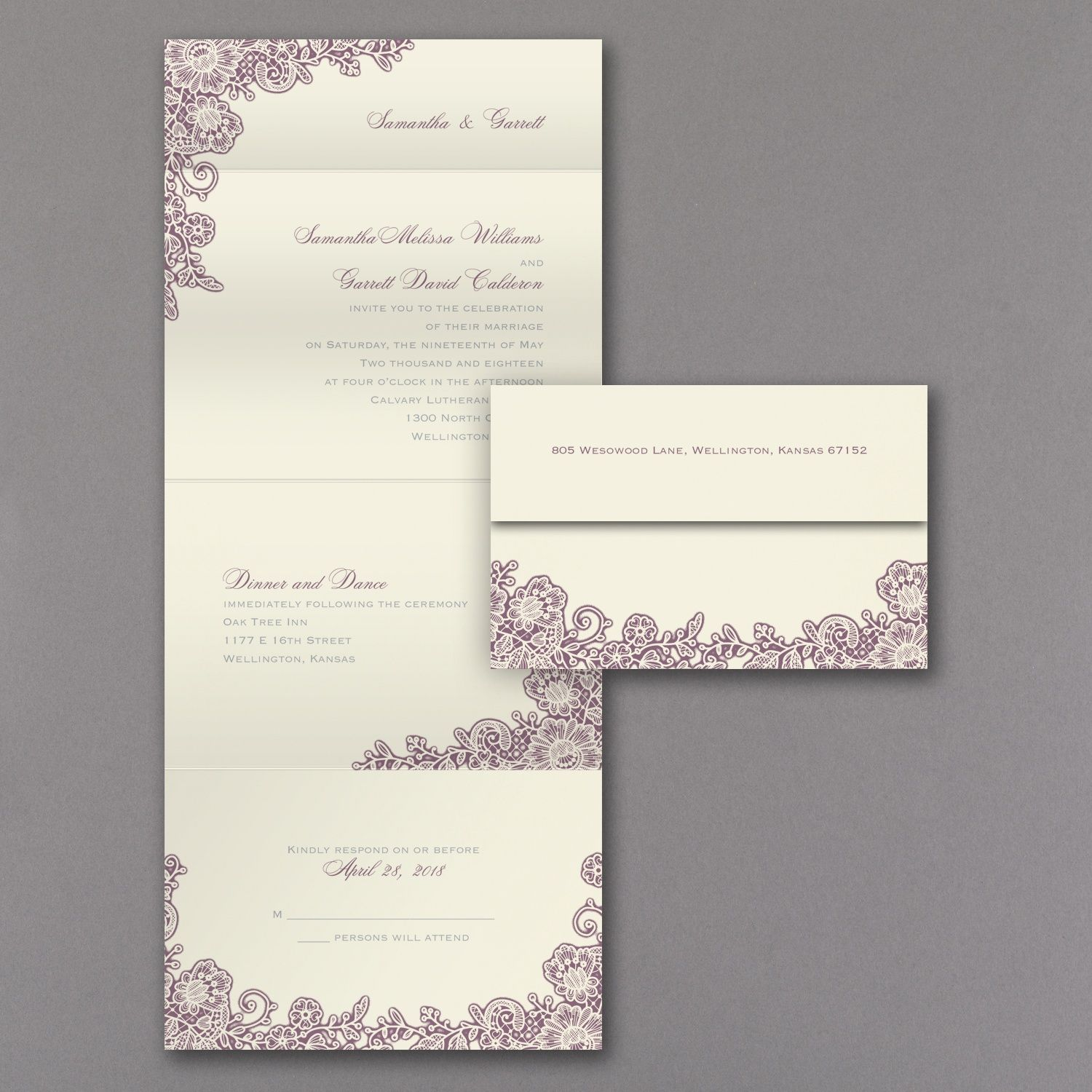 A Little Lace - Seal \'n Send Invitation - Ecru | alfred angelo ...
