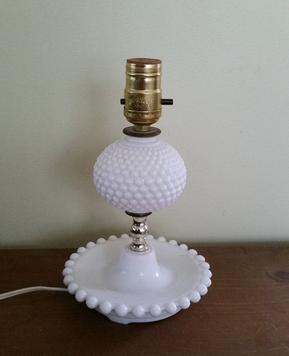 Hobnail Milk Glass Table Lamp Vintage By Billsattictreasures