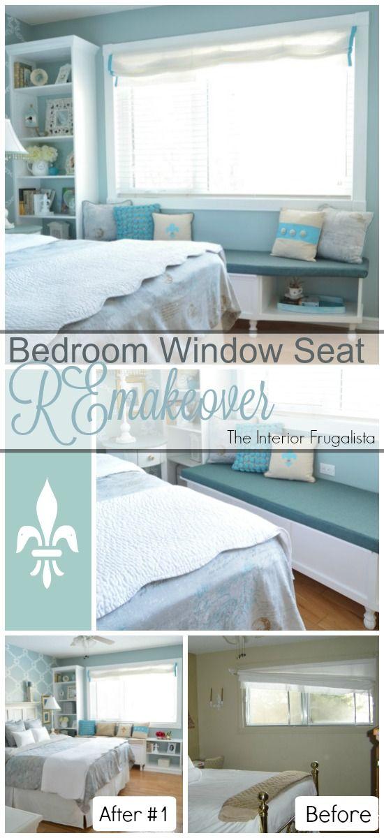 DIY Built-In Bedroom Window Seat & Bookcase | The Interior Frugalista