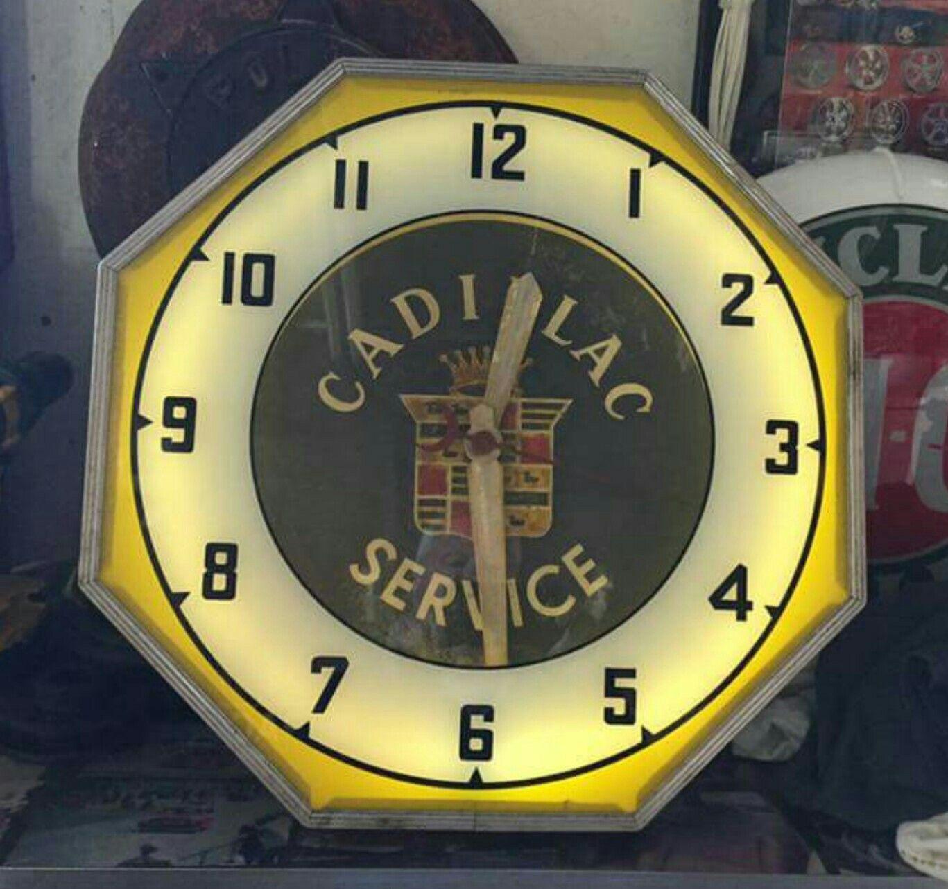 cadillac neon clock