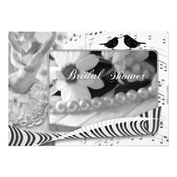 """Bridal shower invitation featuring a black and white music themed design with love birds. The front text """"Bridal Shower"""" is a stylized image and can be deleted if you prefer custom text. For all options, choose """"customize it"""". #bridal #shower #bridal #black #and #white #italian #music #lovers #keyboard #wedding #engagement #love #birds #birds #lace"""