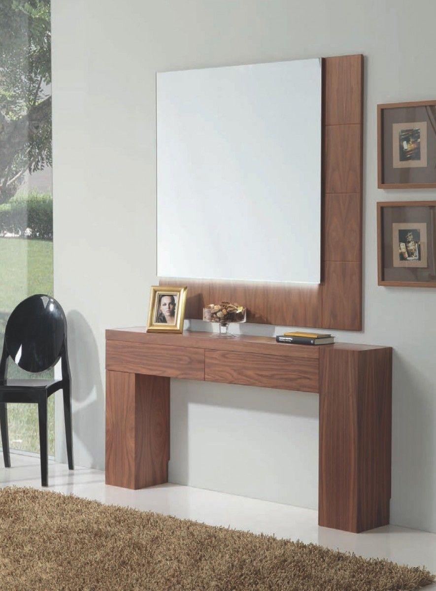 Mueble recibidor moderno madera lacado leds con dos