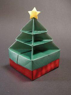 Origami Christmas Tree Box Origami Christmas Tree Christmas Origami Christmas Tree Box