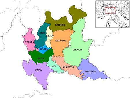 Lombardy Provinces 12 Bergamo Brescia Como Cremona Lecco
