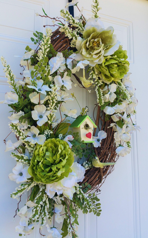 Photo of Spring Wreath birds birdhouse green wreath floral door wreath cottage wreath spring wreaths cabbage blossoms bird wreath oval wreath