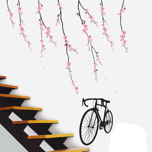 Cherry Lvp Accent Wall: Cherry Blossom Bicycle Wall Decals Removable DIY Home