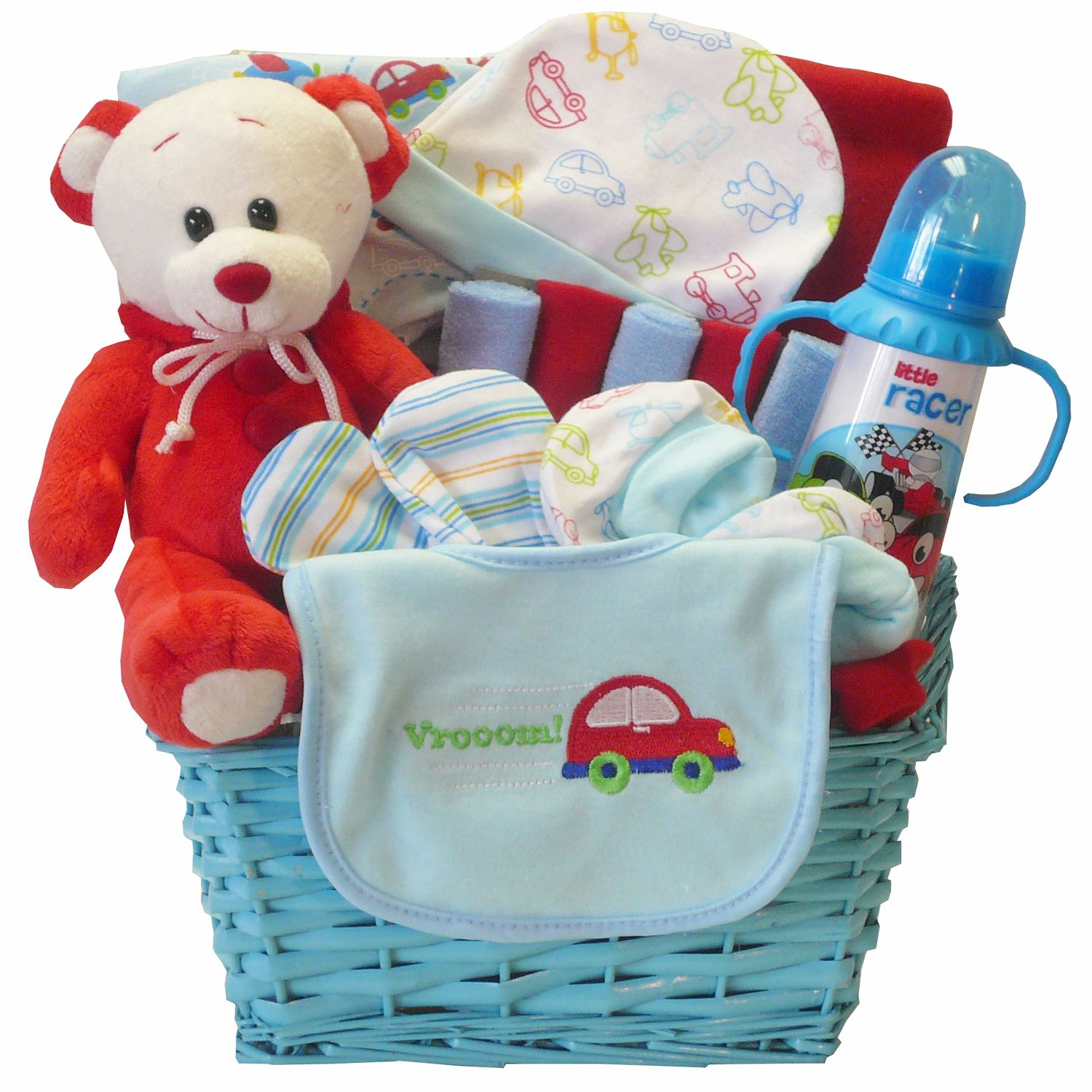 Go Go Baby! This gift is for your little one that will soon be on the go with all these car themed necessities to help him speed away. Presented in a blue gift basket that also makes great storage or decor for baby's room, it includes an adorable themed outfit set, keepsake teddy bear and more.