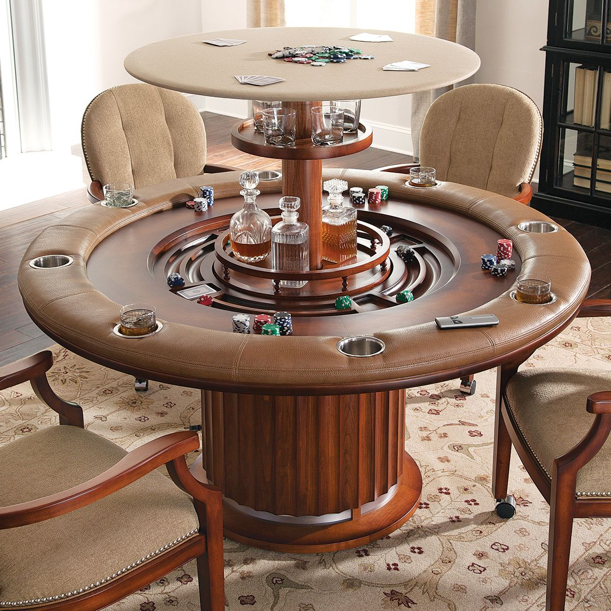 Superior Unique Hidden Bar Game Table | High Rise Poker Table