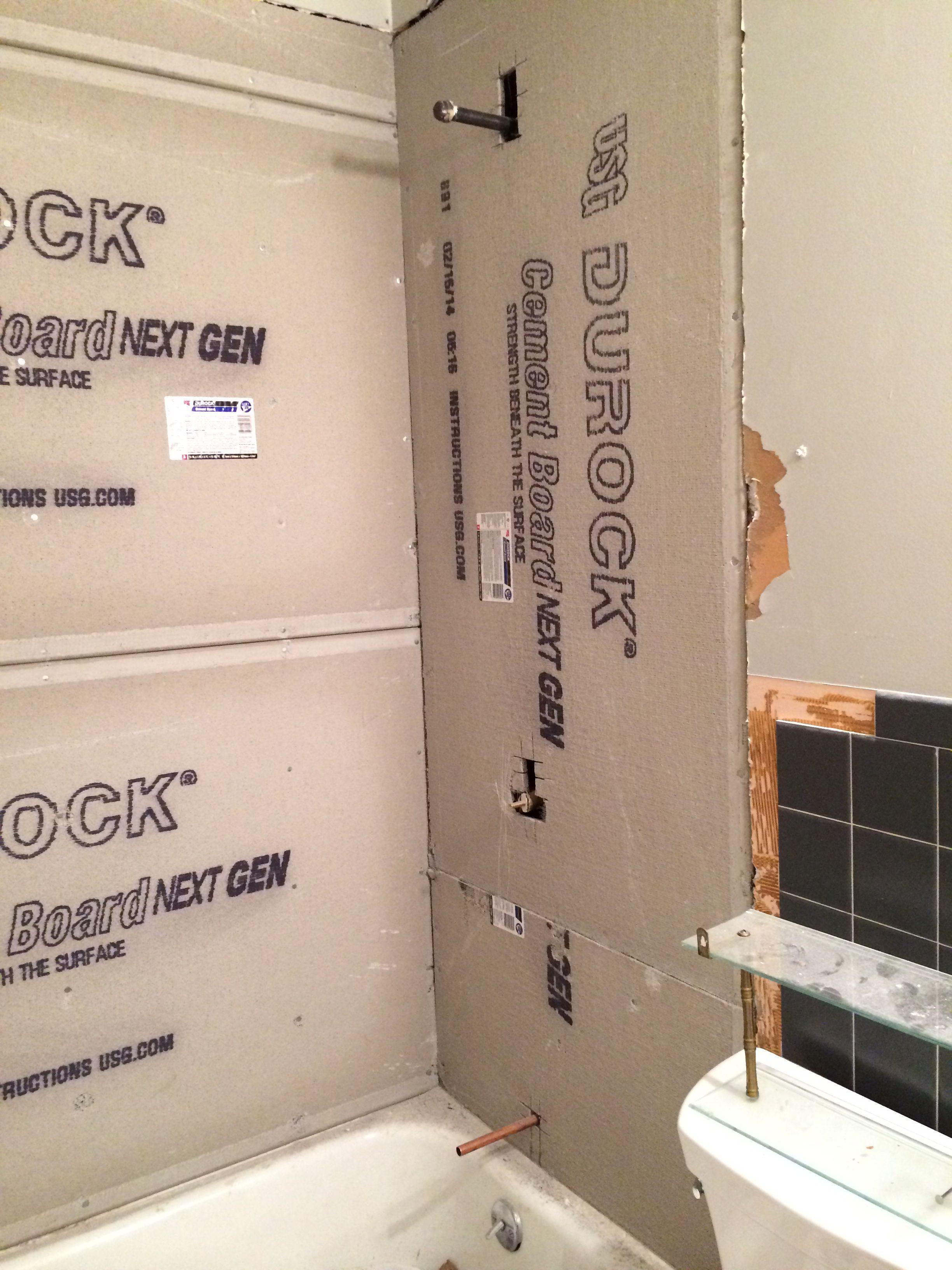 Installation Of Cement Walls Durock Shower Wall Glass Block