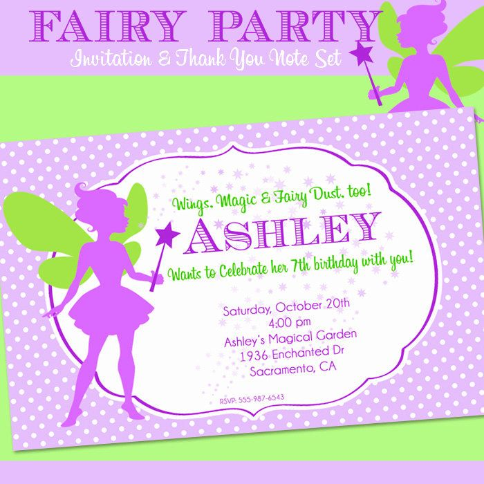 FAIRY Party Invitation and Thank You Note Set - Birthday - Fairy ...