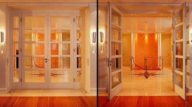 Double door with 2 side lights and block jamb without casing - B80 modern interior doors