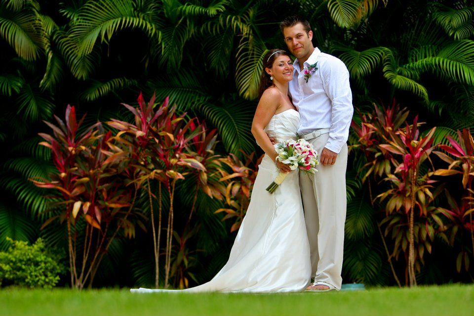 Bride & Groom in our Tropical Garden. Contract Travel by