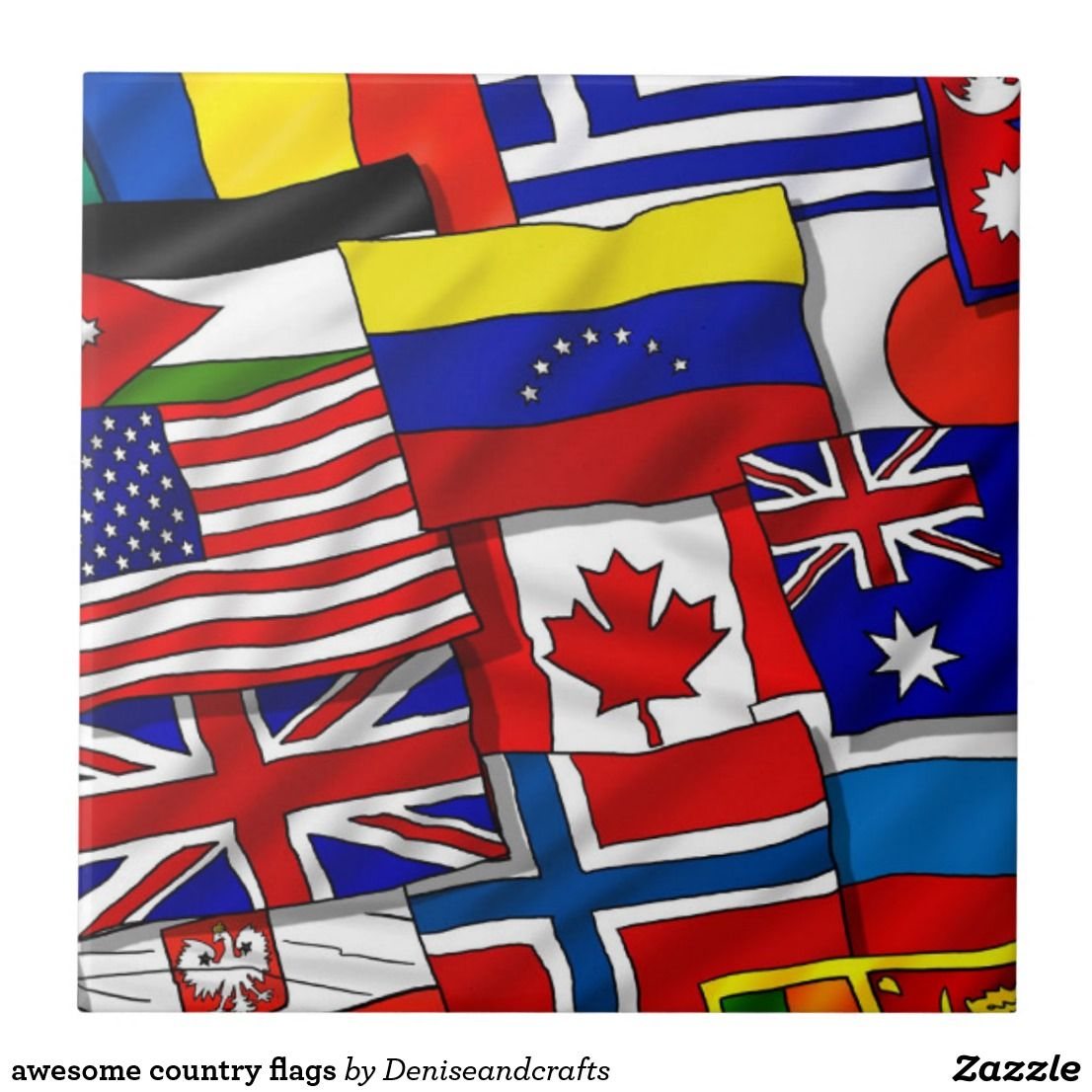 Awesome Country Flags Ceramic Tile