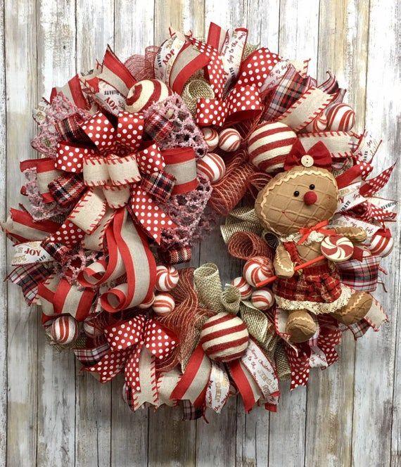 Photo of Christmas wreath, Gingerbread wreath, Rustic wreath, Peppermint wreath, Candy wreath, Winter wreath, Christmas decor, Winter decor