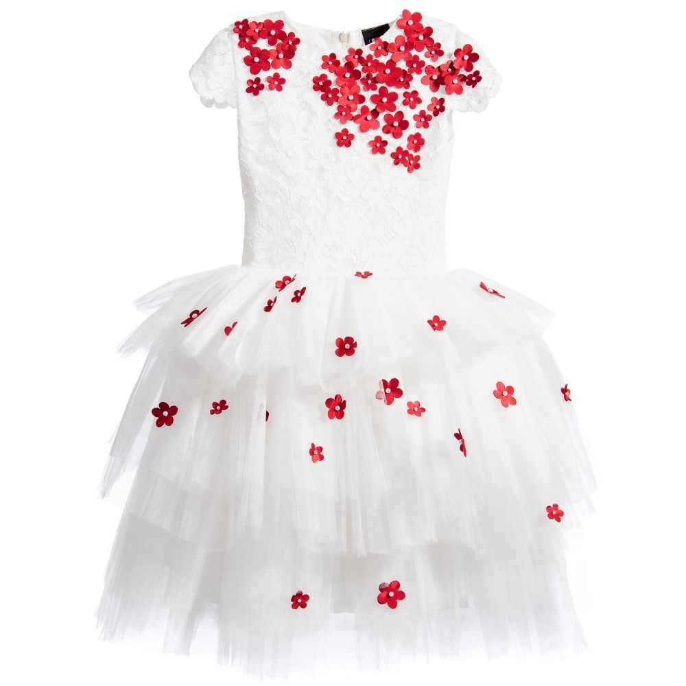 White Lace Tulle Dress With Red Flowers Red Flowers Tulle Dress