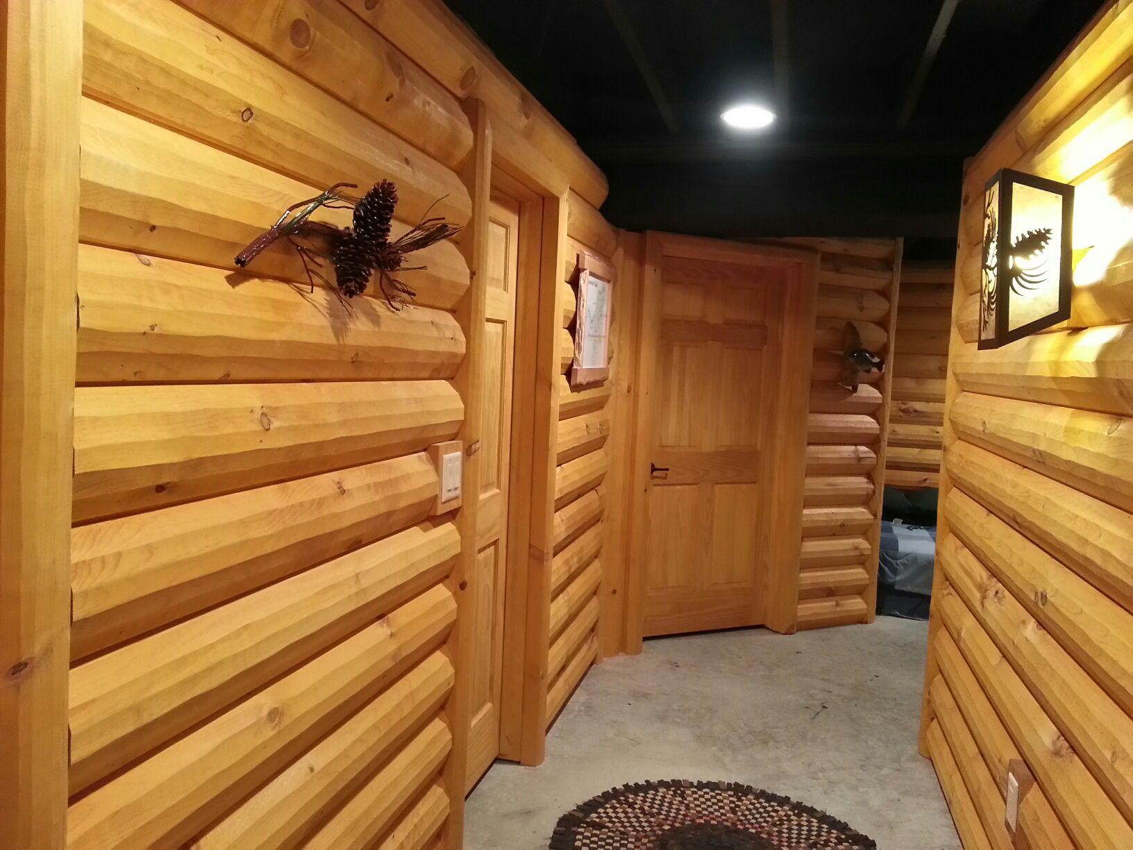 3x8 log siding hand hewn pine - 3x8 Log Siding In Hallway