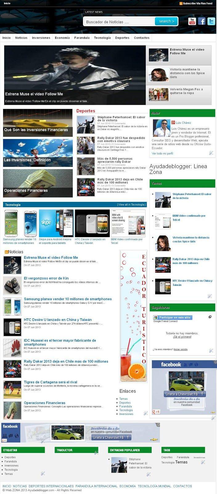 Plantillas para blogger Línea Zona - Widgets y Plugins para Blogger ...