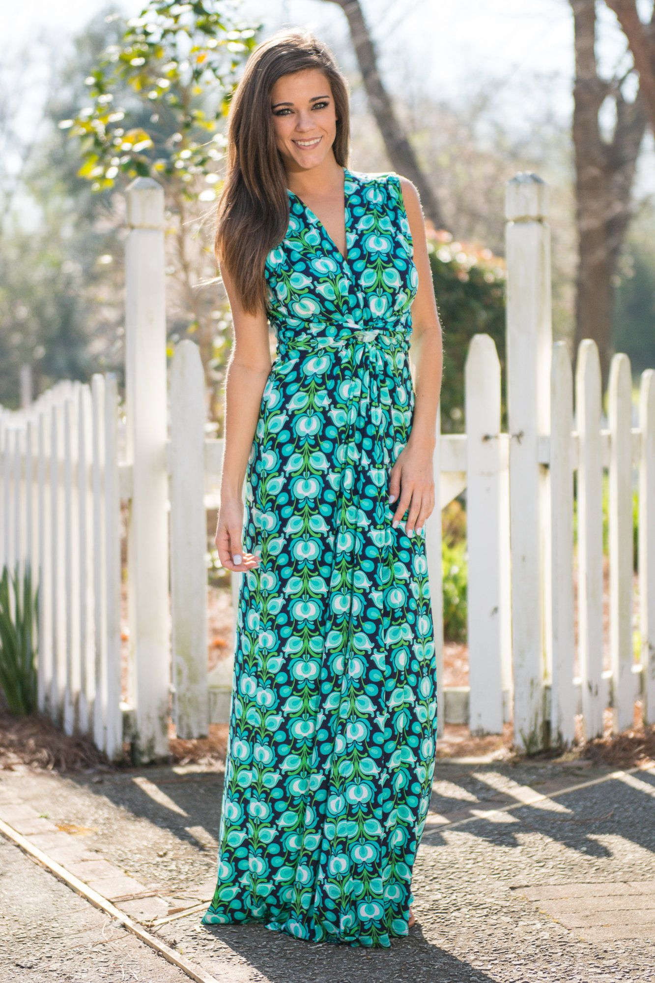 Fresh prints maxi dress green neckline and bald hairstyles
