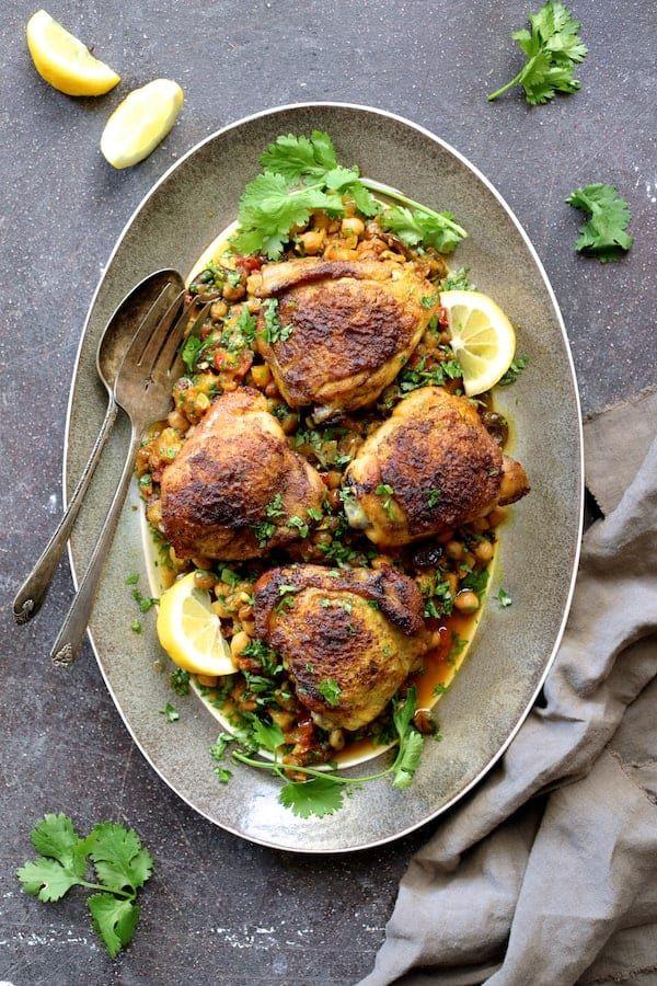 Moroccan Chicken Tagine with Butternut Squash Chickpeas