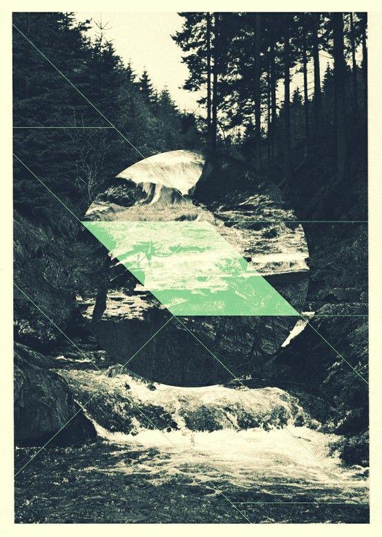 Digital poster design using photomontage techniques, artist unknown