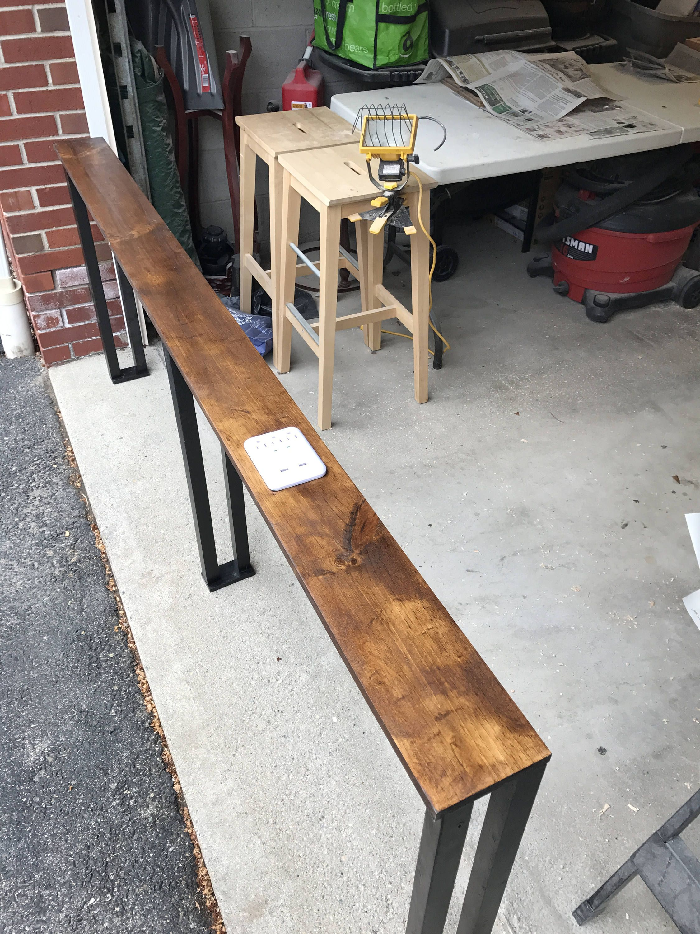 Behind The Couch Table Made Custom To Order Usb Charging Etsy Diy Sofa Table Couch Table Diy Couch Table